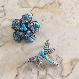 2 Jeweled Dragonfly & Flower Brooches
